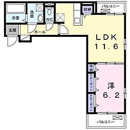 Osaka Metro御堂筋線 新金岡駅 徒歩15分の賃貸アパート 2階1LDKの間取り