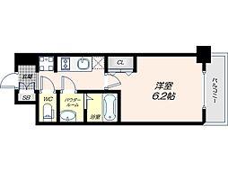 Osaka Metro谷町線 四天王寺前夕陽ヶ丘駅 徒歩9分の賃貸マンション 4階1Kの間取り