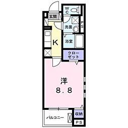 つくばエクスプレス 八潮駅 徒歩9分の賃貸マンション 2階1Kの間取り