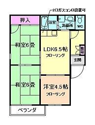 大阪府箕面市箕面3丁目の賃貸アパートの間取り