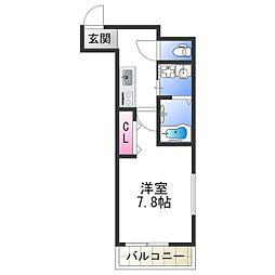 ドリーム フジ 桜川 3階1Kの間取り