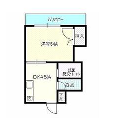 田村コーポ[3階]の間取り