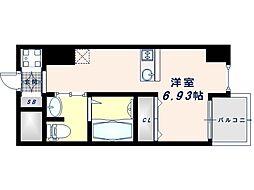 Osaka Metro谷町線 谷町九丁目駅 徒歩7分の賃貸マンション 1階1Kの間取り