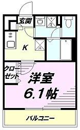 JR中央線 八王子駅 徒歩15分の賃貸アパート 2階1Kの間取り