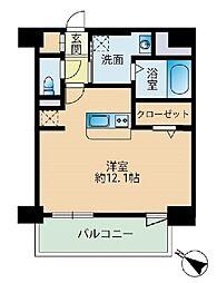 福岡市地下鉄七隈線 薬院大通駅 徒歩3分の賃貸マンション 8階ワンルームの間取り