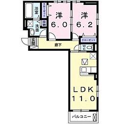 シャルール メゾン II 3階2LDKの間取り