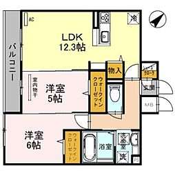 南海線 泉大津駅 徒歩8分の賃貸アパート 3階2LDKの間取り