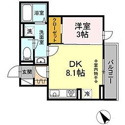 (仮)D-ROOM高松町 1階1DKの間取り