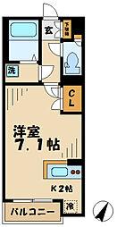 京王相模原線 多摩境駅 徒歩15分の賃貸アパート 2階1Kの間取り