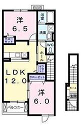 JR川越線 南古谷駅 徒歩13分の賃貸アパート 2階2LDKの間取り