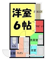 アークプレイス大和田2 1階1Kの間取り