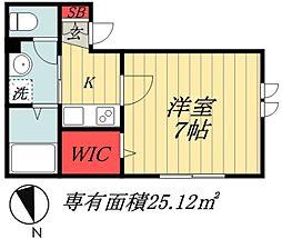 JR総武線 市川駅 徒歩17分の賃貸アパート 1階1Kの間取り