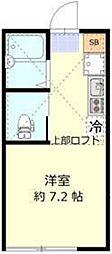 ミント羽田 2階ワンルームの間取り