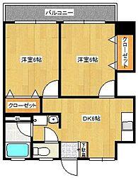 合川ハイツ[202号室]の間取り