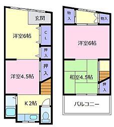 [テラスハウス] 大阪府松原市岡2丁目 の賃貸【/】の間取り