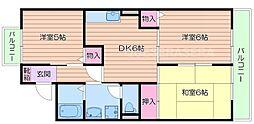 大阪府吹田市江坂町2丁目の賃貸アパートの間取り