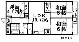 西尾ハイツ[2階]の間取り