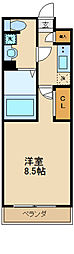 ジェノヴィア世田谷砧グリーンヴェール 2階1Kの間取り