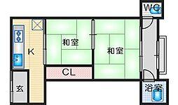 西田文化 2階2DKの間取り