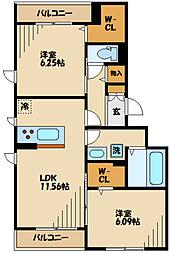 仮)D-room長峰A棟 2階2LDKの間取り