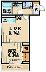 (仮)D-room府中町1丁目 2階1LDKの間取り