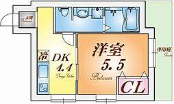 HI-light仲田 1階1DKの間取り