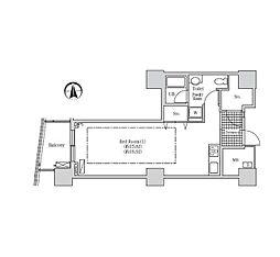 JR山手線 浜松町駅 徒歩3分の賃貸マンション 15階1Kの間取り
