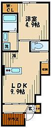 ラメルヴェーユ 1階1LDKの間取り