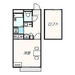 南海高野線 白鷺駅 徒歩20分の賃貸アパート 2階1Kの間取り