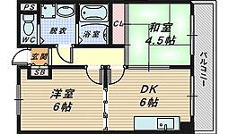 大阪府高石市羽衣1丁目の賃貸マンションの間取り