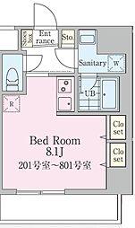 エクセルピア萩中2番館 6階ワンルームの間取り