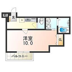 フジパレス京阪北本通 2階1Kの間取り