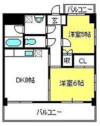 三栄東大成ハイツ[201号室]の間取り