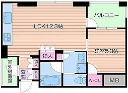大阪府大阪市中央区南本町3丁目の賃貸マンションの間取り