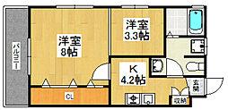 福岡県福岡市城南区梅林4丁目の賃貸アパートの間取り