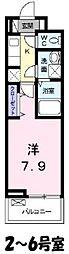 JR武蔵野線 吉川駅 徒歩10分の賃貸アパート 2階1Kの間取り
