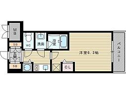 エステムコート新大阪XIIオルティ 3階1Kの間取り