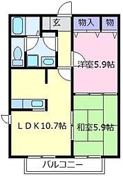 シャーメゾン岡田[1階]の間取り