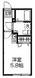 西武新宿線 西武柳沢駅 徒歩10分の賃貸アパート 1階ワンルームの間取り