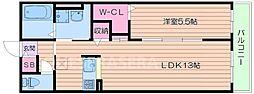 モア エクセレンス 3階1LDKの間取り