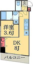 JR総武線 幕張駅 徒歩9分の賃貸マンション 2階1DKの間取り