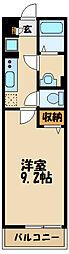 リブリ・暁 2階1Kの間取り