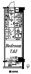 アクサスレジデンス外苑 地下1階1Kの間取り