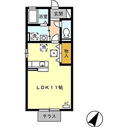 愛知県豊橋市向草間町字向郷の賃貸アパートの間取り