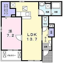 JR成田線 新木駅 徒歩4分の賃貸アパート 1階1LDKの間取り