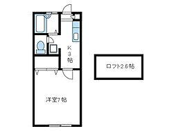 神奈川県海老名市東柏ケ谷3丁目の賃貸アパートの間取り