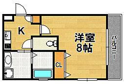 リアコートJR淡路駅前 3階1Kの間取り