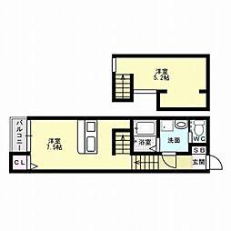 福岡県福岡市城南区友丘6丁目の賃貸アパートの間取り