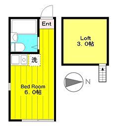 小田急小田原線 生田駅 徒歩6分の賃貸アパート 1階ワンルームの間取り