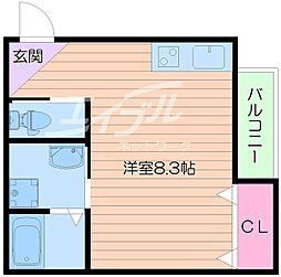 Osaka Metro谷町線 千林大宮駅 徒歩12分の賃貸アパート 1階ワンルームの間取り